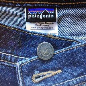 Patagonia denim dark wash rolled hem shorts